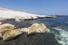 White rocks near Governor`s beach. Mediterranean sea landscape. Royalty Free Stock Image