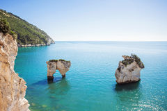 White rocks in the sea, Gargano National Park, Italy. Beautiful view of white rocks in the sea, Gargano National Park, Italy Royalty Free Stock Image