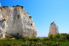 White rocks at Vieste, Italy Stock Images