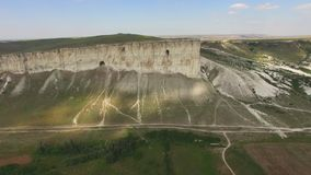 White rocky mountains with plateaus, aerial video stock video