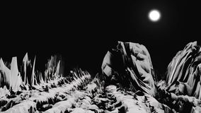 White rocky surface of the unknown planet in black space with white, bright moon on background. Alien planet landscape. With sharp cliffs and the absence of royalty free illustration