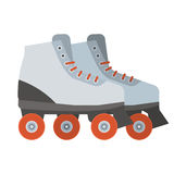 White Roller Blades. White woman roller blades. Girl roller skates with red wheels illustration. City sports equipment Royalty Free Stock Photography