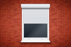 White Roller Shutters On Window Royalty Free Stock Photo