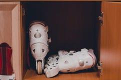 White roller skates royalty free stock image