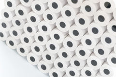 White rolls of cash register tape wholesale.  stock photo