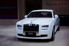 White Rolls-Royce Ghost. Take on the 16th Chongqing International Motor Show, June 6th-12th, 2014. There are many international famous brand companies and Stock Photos