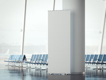 White rollup banner in airport terminal. 3d rendering. White rollup banner in modern airport terminal. 3d rendering Royalty Free Stock Images