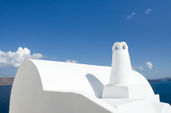 White roof, chimney Oia Santorini island Greece Royalty Free Stock Photos
