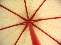 White roof with red stakes. A white roof with red stakes in a chapel in Malmedy Belgium Stock Images