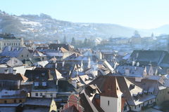 White roofs in Cesky Krumlov Royalty Free Stock Image