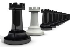 White rook among blacks. Chessmen. One white rook in a row of blacks. The concept of betrayal. 3D Illustration stock illustration