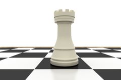 White rook on chess board Royalty Free Stock Photography