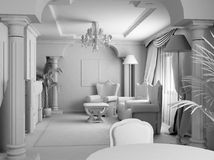 White room. 3D render. White furniture in the white classic room royalty free stock photos