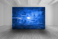 White room with abstract blue picture Royalty Free Stock Image