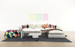 White room with bed. Comfort space in house. Modern design. stock illustration
