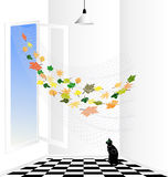 white room and black cat Royalty Free Stock Photography