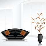 White room with the black sofa. Illustration of bright room with the black sofa and the vase Royalty Free Stock Images