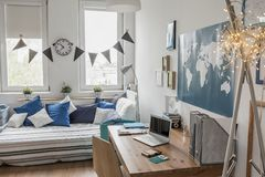 White room with blue details Royalty Free Stock Image