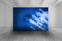 White room with blue picture of arrows Stock Image