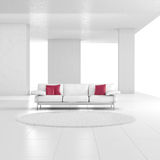 White room with carpet. And red cushions Stock Photo
