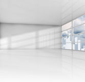 White room with cityscape outside. 3d render Royalty Free Stock Image