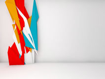 White room, colorful polygonal decor 3d. Abstract white interior background with colorful polygonal decoration installation, 3d illustration stock illustration