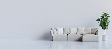 White room with couch and a plant. 3D render. stock photos