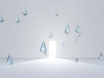 White room with drops of pure water Stock Images