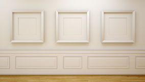 White room with empty frames Stock Photos