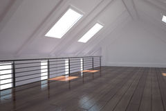 White room with floorboards. Empty white room with floorboards Stock Photo