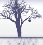 White room with image of apple tree Royalty Free Stock Images