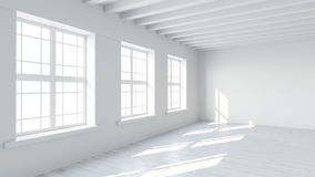 White room interior with blank wall Stock Photos