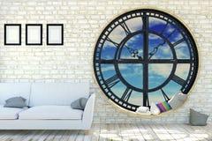 White room interior in minimalist decoration with round metal clockwork window Stock Photos