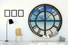 White room interior in minimalist decoration with round metal clockwork window Royalty Free Stock Images