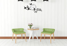 White room interior and vintage decorations Stock Photos