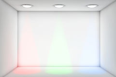 White room with RGB Lights for exhibition Stock Image