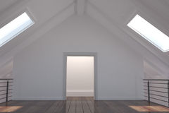 White room with skylights Stock Photo