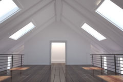 White room with skylights Stock Photos