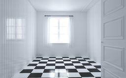 White room with window, door and curtain. Checker square black and white pattern floor 3d checker, modern style, 3d illustration, 3d Render, checkerboard floor Royalty Free Stock Photography