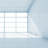 White room with windows. 3d render illustration. Abstract white interior of an empty office room with windows. 3d render illustration Royalty Free Stock Photos