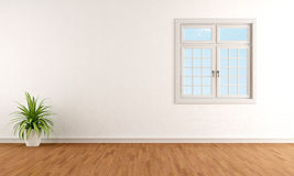 White room with windows Stock Photo