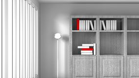 White Room With Books Royalty Free Stock Photos