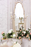 White Room With Mirror And Vintage Chair Stock Photography