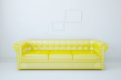 White room, the yellow sofa. Model unusual sofa in interior Royalty Free Stock Photo