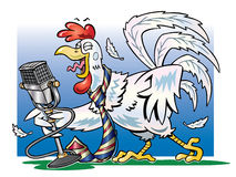 White rooster crowing into a microphone. Cartoon illustration of a white rooster wearing a necktie crowing into a microphone with a blue background stock illustration