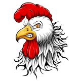 White rooster head mascot royalty free illustration