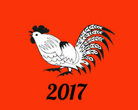 White rooster on red background. Symbol 2017. Christmas vector in a folk style. Suitable for greeting cards, invitations, design elements for Christmassy vector illustration
