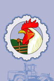 White rooster. Vector illustration of a white rooster inside circle and agrimotor Stock Image