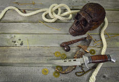 White rope frame with skull and knives Royalty Free Stock Photography