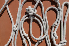 White rope with knots.  stock photo